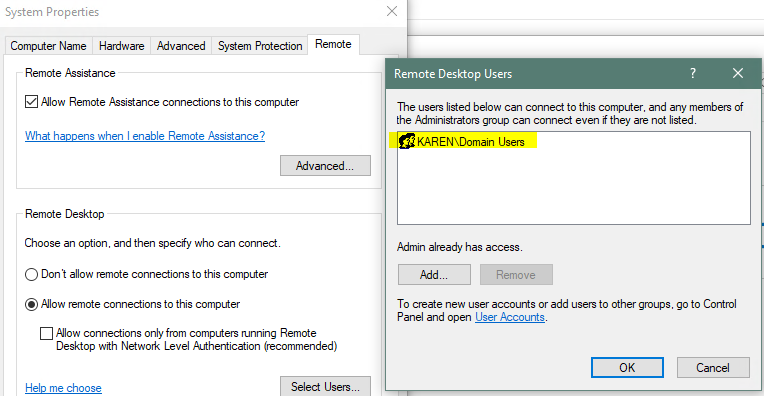 Windows 10 - RDP connection issue (domain users)