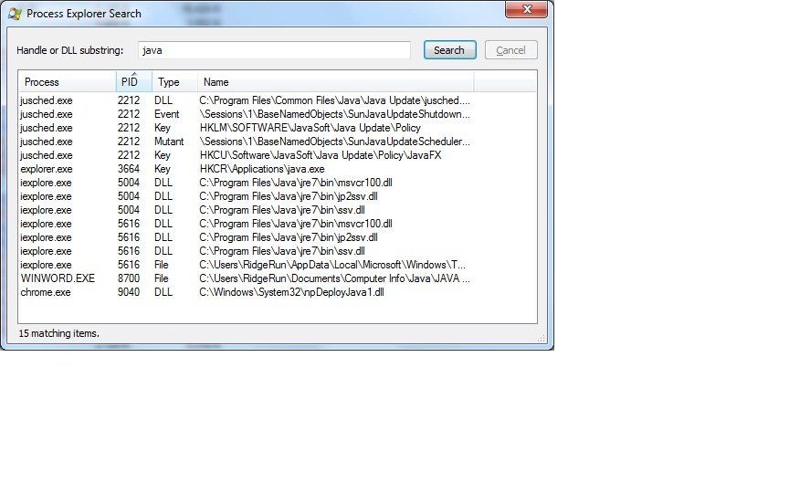 Java running in Process Explorer