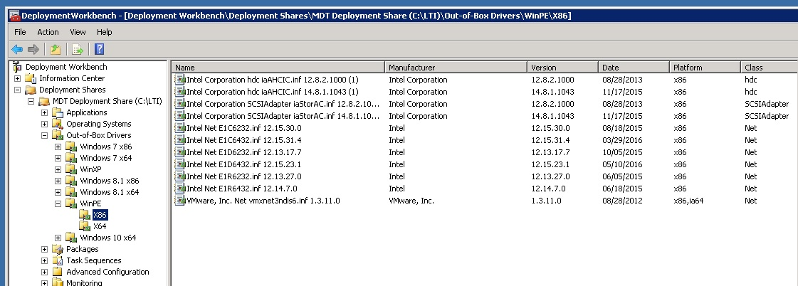 VMWare NIC driver for WinPE to support MDT CAPTURE function