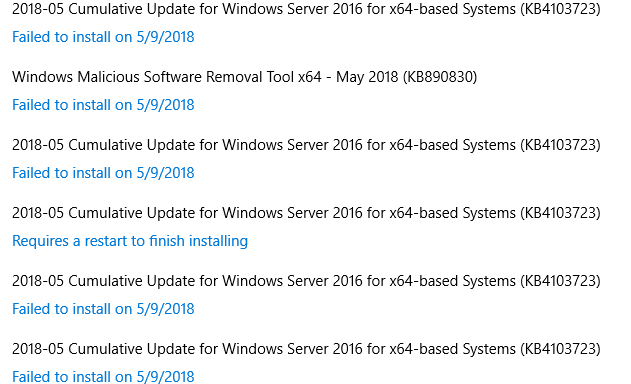 Why does server 2016 fail installing updates repeatedly?