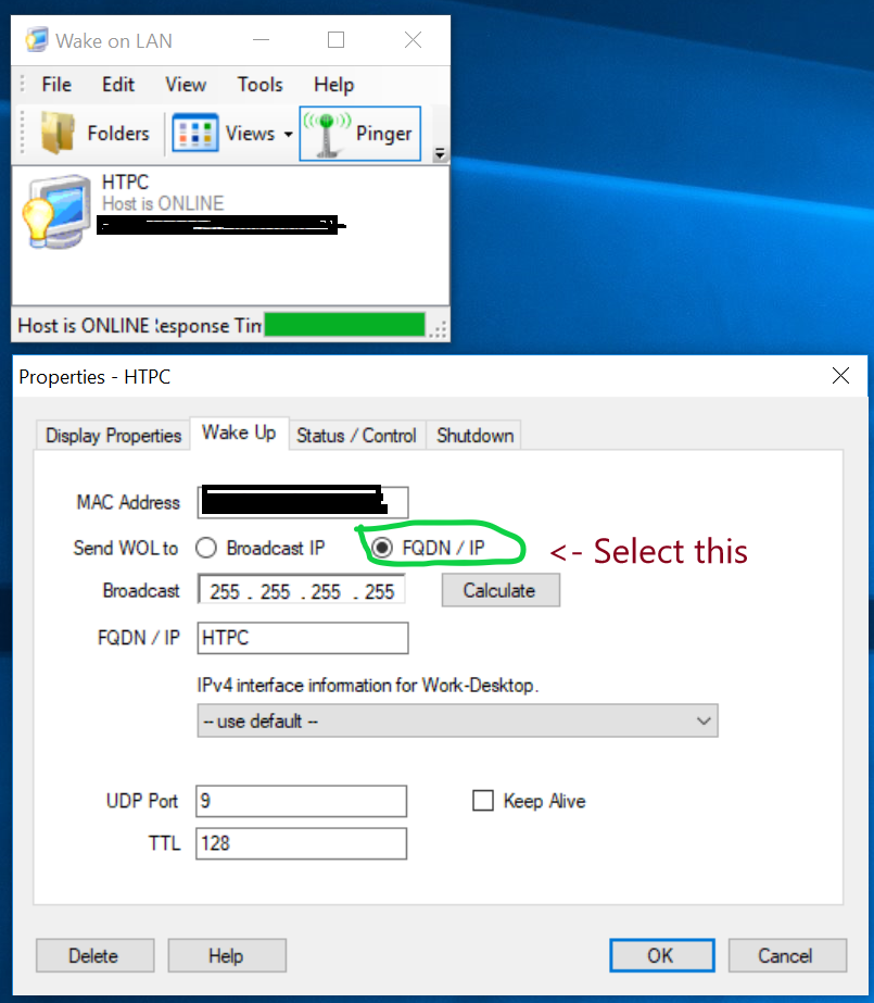 Can't send a Wake on LAN packet from Windows 10 PC