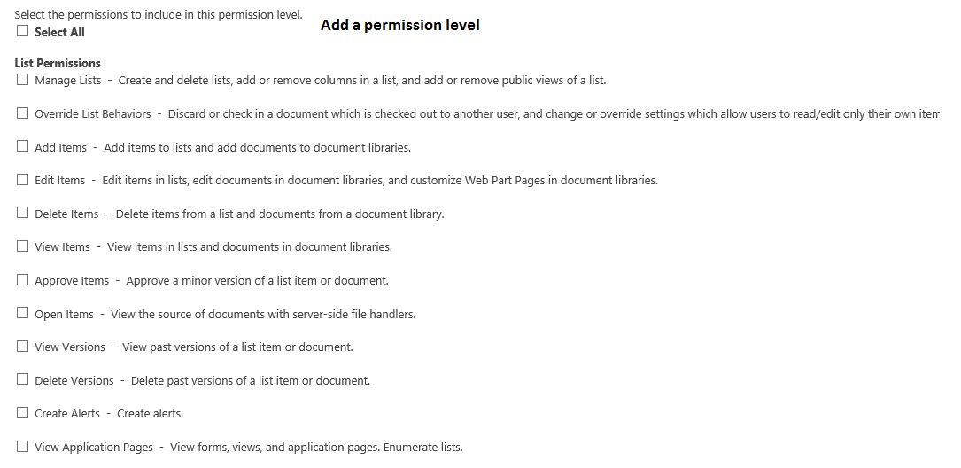 Add permission Level Upper