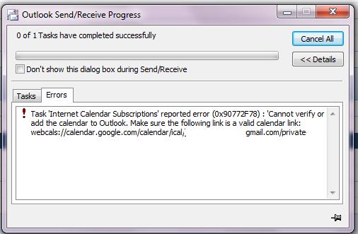 Outlook Internet Calendar Subscriptions Error