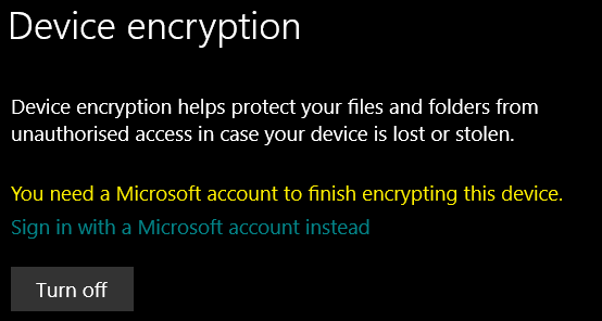 Device encryption Settings