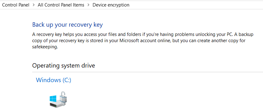 recovery key in Device Encryption