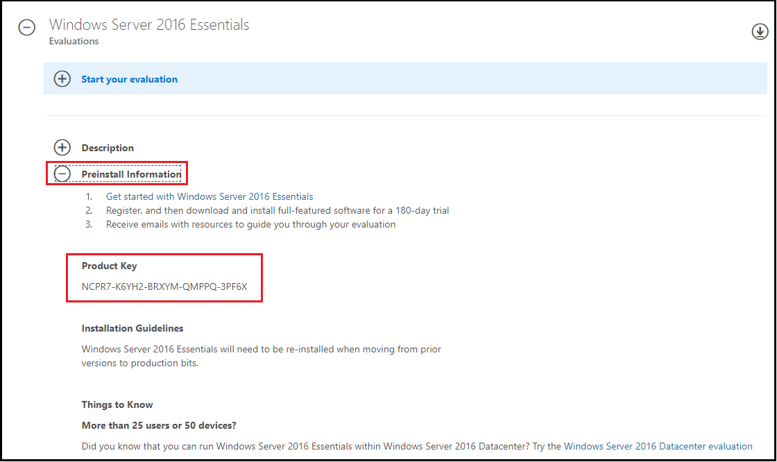 Why is the key not working with server 2016 essential trail
