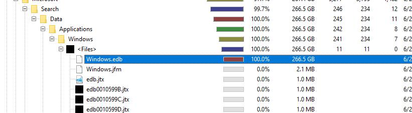 Windows 10 Windows edb file is 266GB in size