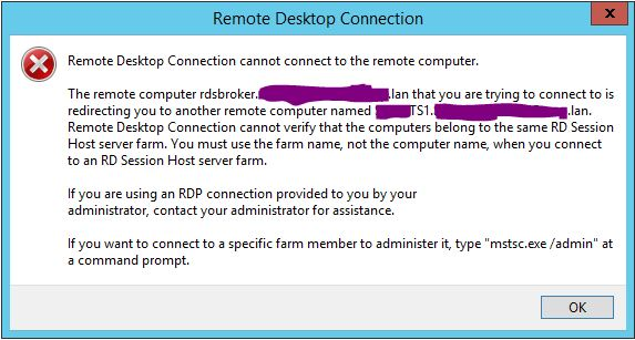 The remote computer that you are trying to connect to is redirecting you to another remote computer.