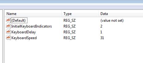 numlock registry key windows 7
