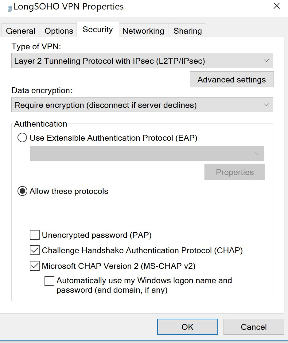 VPN Setup L2TP connection failure
