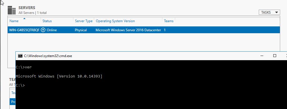1st Server running Windows Server 2016 full GUI (not v1709)