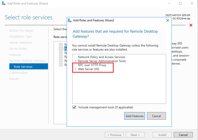 RD Gateway 2016 - IIS required or not ?