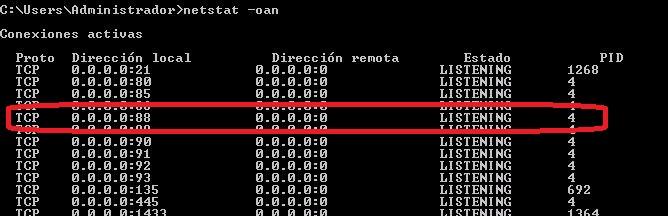 Puerto 88 netstat
