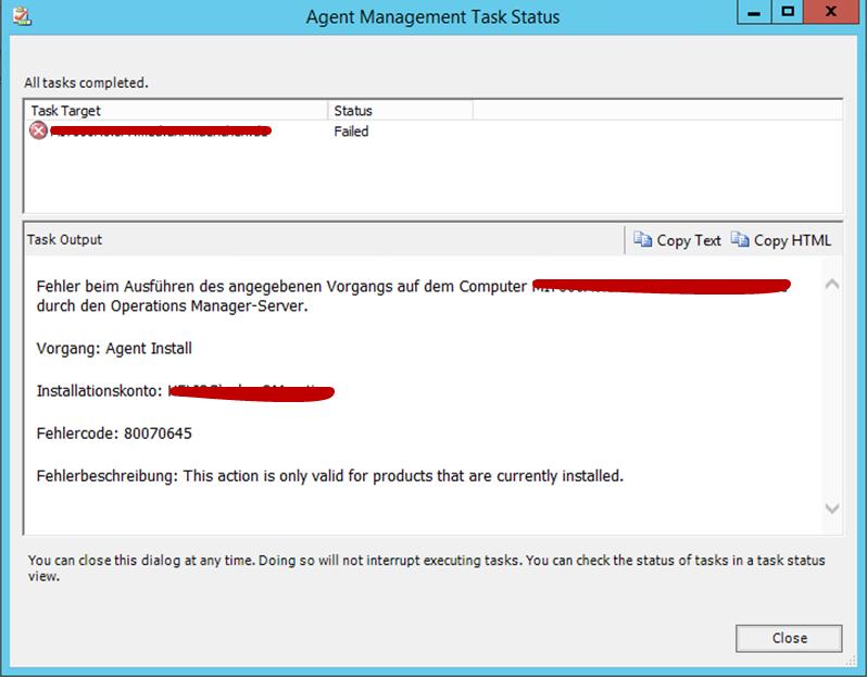 SCOM agent installation error: \