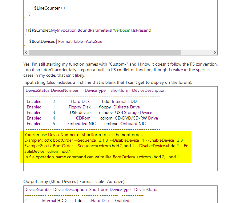 Screenshot of another post containing the output, with the output in question hightlighted.