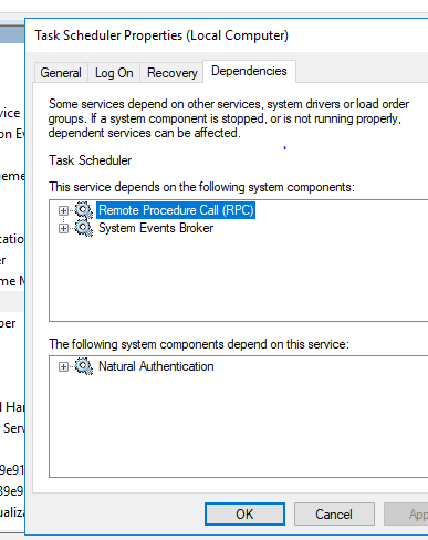 Task Scheduler Service Stopping