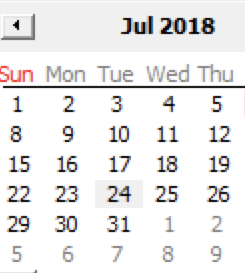 Windows 2016 shot of partial calendar with July 2018, and the 24th is slightly highlighted