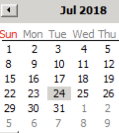 Windows 2008R2 shot of partial calendar with July 2018, and the 24th is definately highlighted