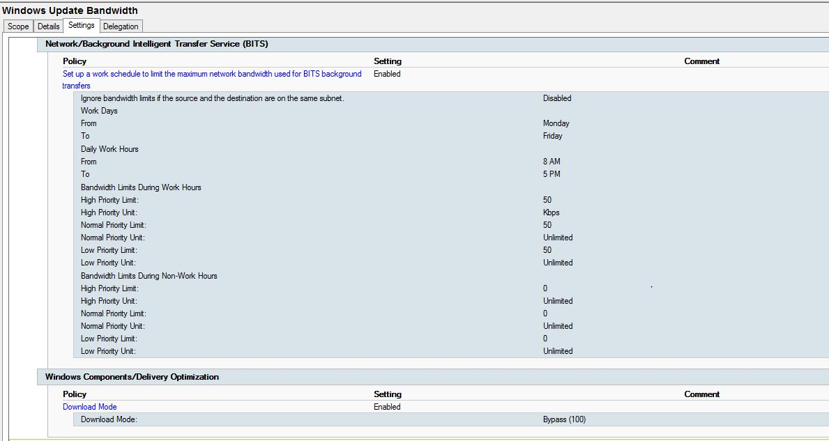 Limit Windows Update Bandwidth using GPO settings - so far