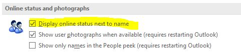Outlook 2016 Not Showing Status in People List