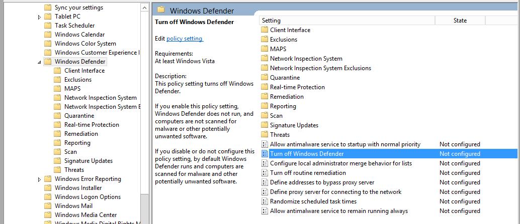 remove windows defender server 2016