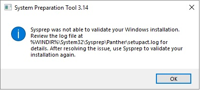 Sysprep was not able to validate your Windows Instalation
