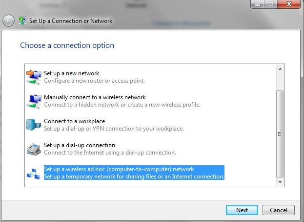 Windows 10 won't connect to an ad hoc network started from