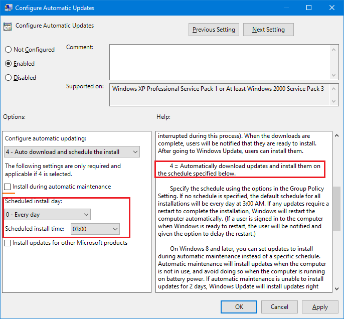 Updating Windows Server 2016 at a specific time
