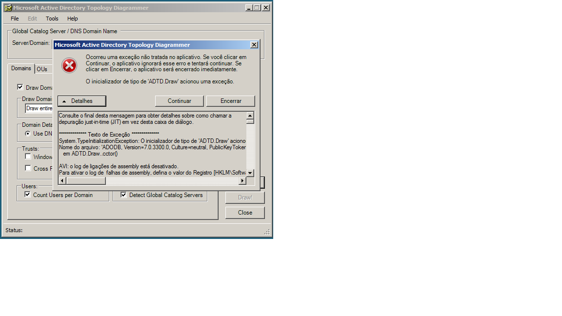 Erro - Microsoft Topology Diagrammer