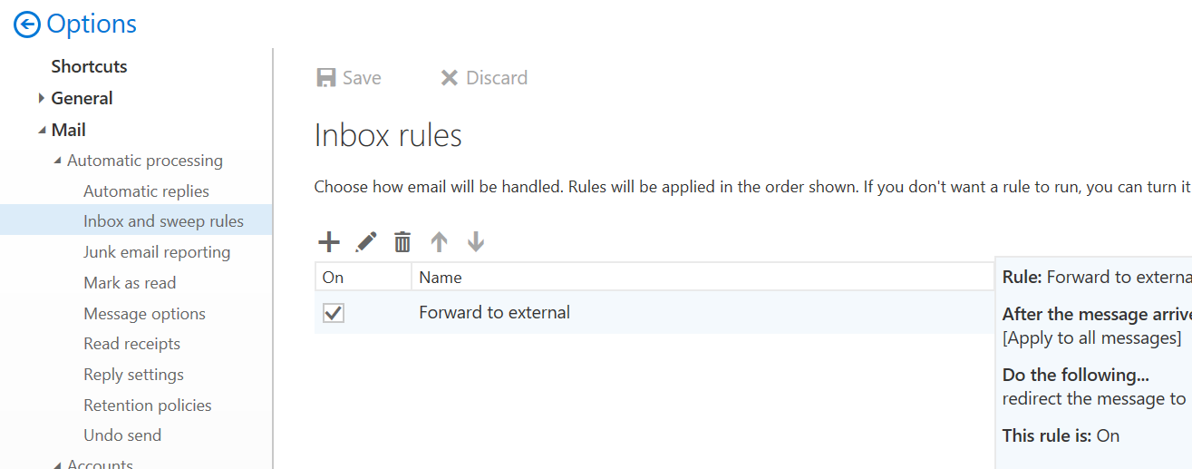 Office 365 Exchange transport rule for Auto-Forward not working