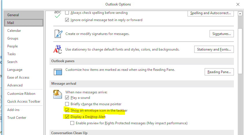 Outlook email alerts delayed in Notification area
