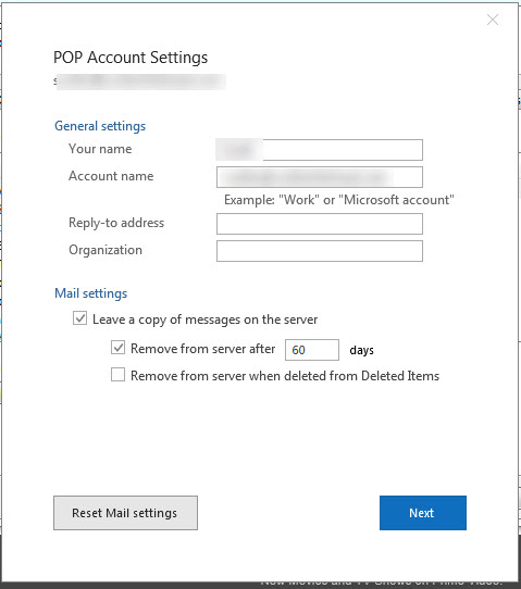 Outlook 2016 Account Settings no longer shows me POP