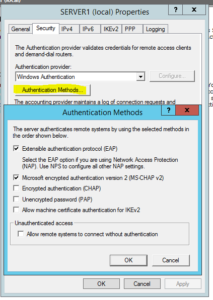 connection problem on VPN due to RAS/VPN policy/ Error 812