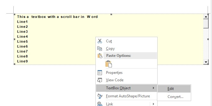 how can I create a scrollable text box