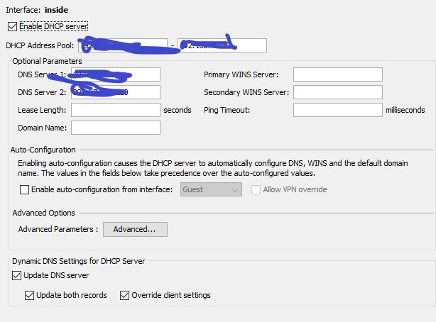 dhcp on ASA firewall