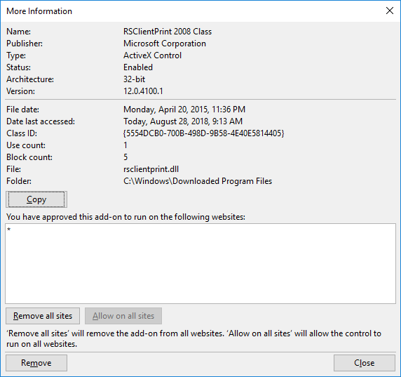 SQL Server Reporting Services 2014 ActiveX Plugin Keeps
