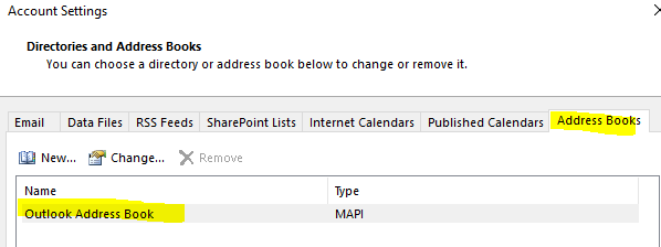 Outlook address book service