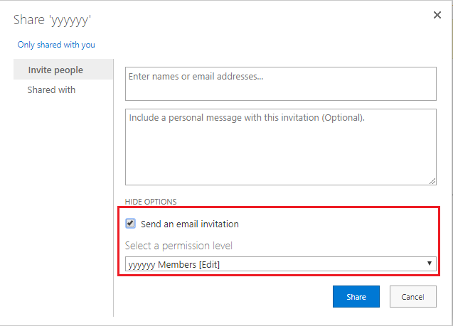 Disable Send an Email When Applying Permissions