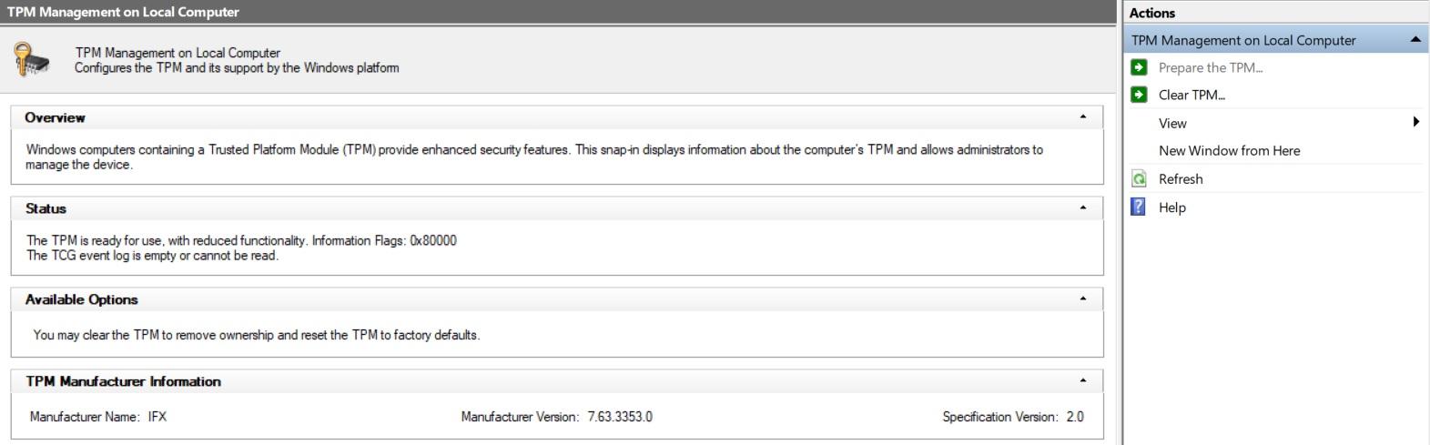Cannot enable BitLocker