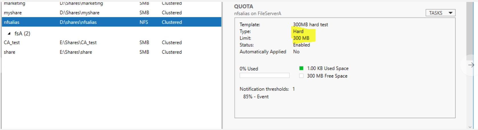 Capacity incorrectly displayed on NFS client when quotas are