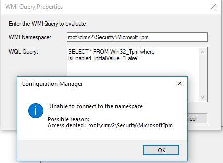 wmi query access denied running task sequence