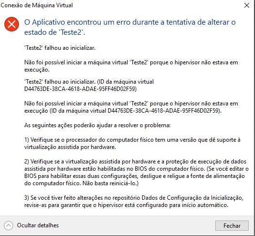 Erro ao tentar Iniciar uma máquina virtual no Hyper-v