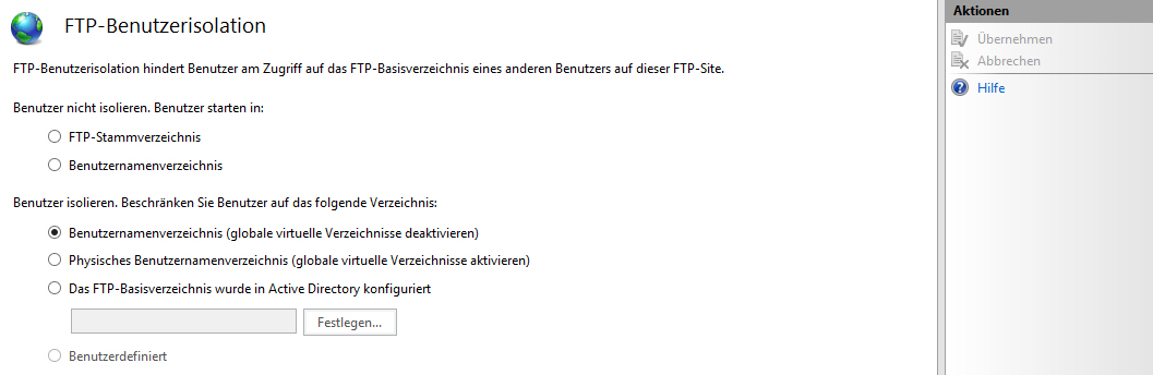 FTP-Benutzerisolation