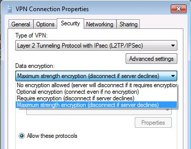 How to configure RRAS VPN 256 bit Encryption connection