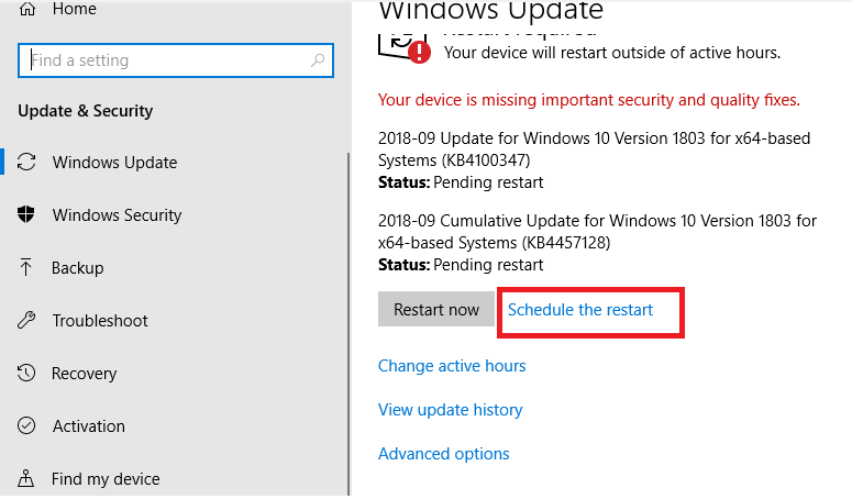 GPO for Windows 10 v1803 Restart notify after installed hotfix