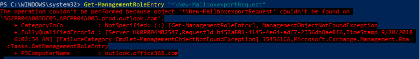 delegate Mailbox Import/Export Security & Compliance Center