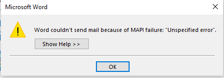 2016 Office - Word couldn't send mail because of MAPI