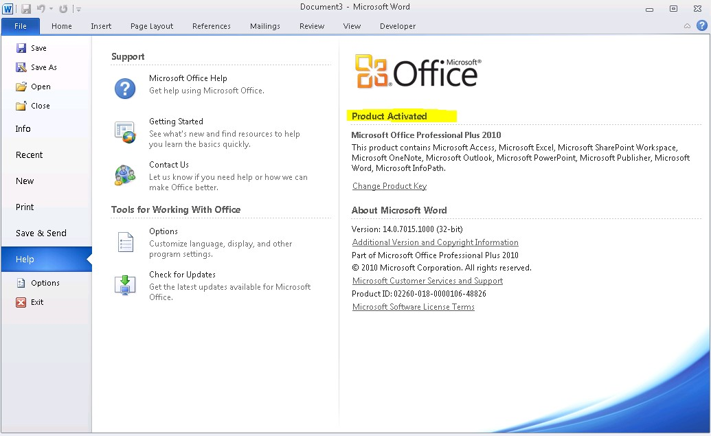 how to check whether microsoft office 2010 is activated