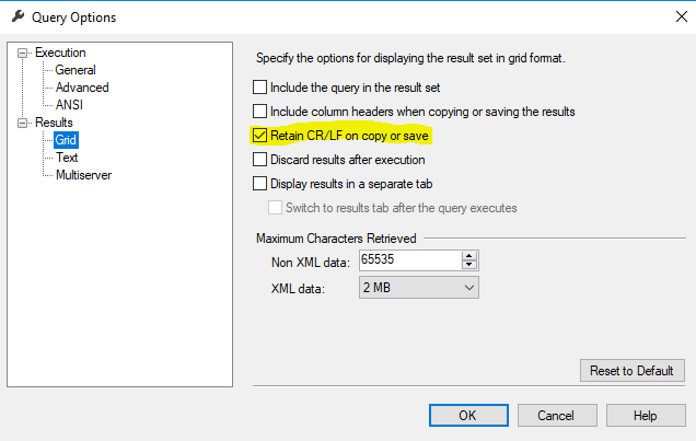 Line Break Issue when Copying from SSMS 2012 & Pasting into Excel