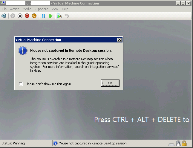 Cannot use mouse and remote to Hyper-V VM suddenly